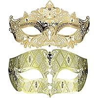 Della coppia stile lussuoso set maschera veneziana principessa partito Maschera Gold