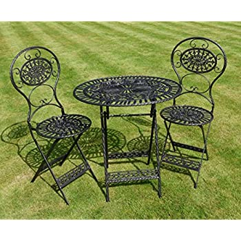 garden patio furniture. Black Wrought Iron 3 Piece Bistro Style Garden Patio Furniture Set E
