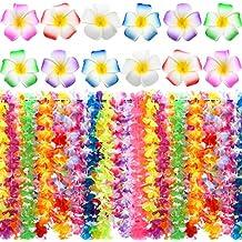 Juego DE 54 Piezas de Materiales de Fiesta Hawaiana Luau 36 Piezas de Guirnalda de Flores