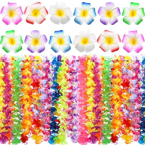 54 Stück Hawaiian Luau Party Supplies Set 36 Stück Hawaiian Ruffled Blumen Leis mit 18 Stück Hawaiian Blumen Haarspangen für Hawaiian Party