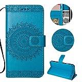 Sycode Wallet Hülle für iPhone 5 5S,Ledertasche für iPhone SE 5S 5,Totem Blumen Blau PU Leder Brieftasche für iPhone SE 5S 5-Blau