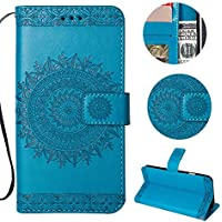 Sycode Wallet Hülle für iPhone X,Ledertasche für iPhone X,Totem Blumen Blau PU Leder Brieftasche für iPhone X-Blau