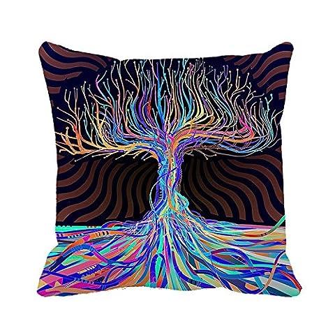 tamengi Baumwolle Art Design Tree Custom quadratisch dekorativer Überwurf-Kissenbezug, #05, (Benutzerdefinierte Body Art)