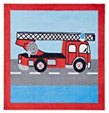 Bavaria Home Style Collection Kinder Teppich Kinderteppich Läufer - mit Feuerwehr - 100 x 100 cm - Strasse - Babyteppich