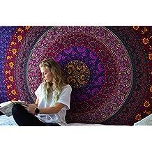 Tapiz Hippie Mandala Tapicería de pared Bohemia Rosa de algodón Tapestry de pared Colgante Flores Tapiz de Rajrang
