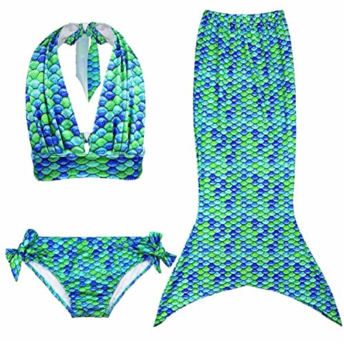 GenialES 3 Pezzi Ragazze Marmaids Sirena Costume da Bagno Swimsuit Swimwear Bikini Set Monopinna 2-10 anni