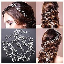 Amorar Hairband di Tessitura della Catena dei Capelli del Cristallo Perle di Nozze Accessori dei Capelli Hairband della…
