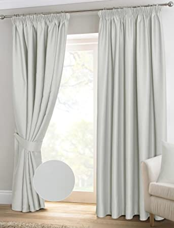 Homescapes Ivory Pencil Pleat Blackout Thermal Curtains Pair Width ...