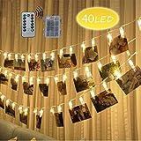 LED Foto Clips Lichterketten, Looyat 40 Photo Clips 5M Fernbedienung Batteriebetriebene Dimmbare Foto-Display Starry Lampe mit 8 Modi, für Hang Pictures Karten Notizen, Warm White
