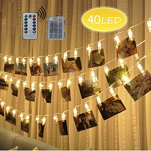 LED Foto Clips Lichterketten, Looyat 40 Photo Clips 5M Fernbedienung Batteriebetriebene Dimmbare Foto-Display Starry Lampe mit 8 Modi, für Hang Pictures Karten Notizen, Warm White