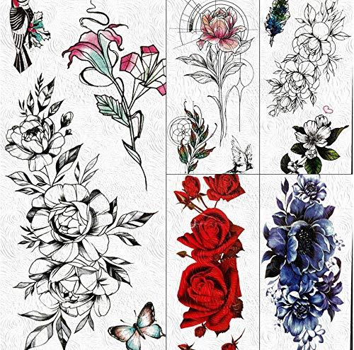 Yyydl tatuaggi temporanei black flower rose tatuaggi temporanei flora sticker body art pittura braccio finto tatuaggio impermeabile per le donne ragazze peonia tatuaggi 19 * 9 cm 5 pz