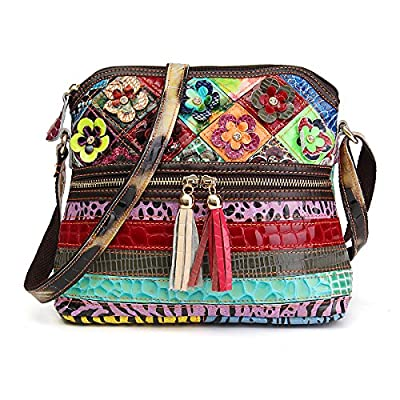 Fashion Crossbody Bag, OURBAG Vintage Women Cowhide Leather Handbag Multicolor Shoulder Bag Ladies Travel Beach Bag