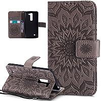 LG G4caso, LG G4funda, ikasus), diseño de Mandala de flores de girasol patrón piel sintética plegable tipo cartera, funda de piel tipo cartera con función atril para tarjetas de crédito ID soportes carcasa para LG G4