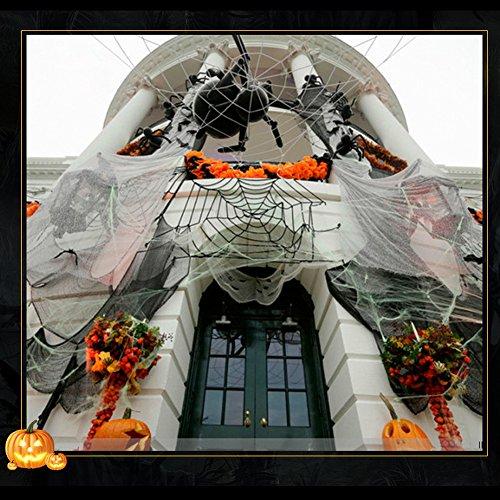 Halloween Spinnennetz Stretchable Spider Cob Spinnenseide Dekoration mit 8 Spinnen 120g Haunted House Decor Weiß Dehnbar