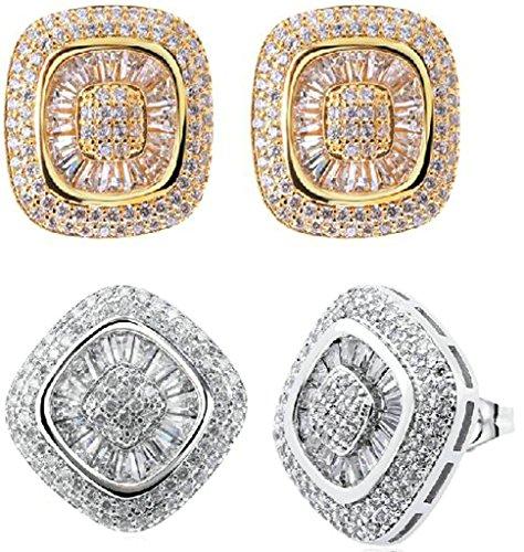 Beydodo Vergoldet Überzug Ohrringe Damen (Stud-Ohrring) Quadratische Form Cubic Zirconia Kristall Gold