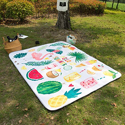 QHQH Picknickdecke,Outdoor Park Rasen Stranddecke Picknickdecke Campingdecke mit schönem Muster,Wasserdicht feuchtigkeitsfest Picknickdecke(1.4 * 1.95m, 1.7 * 1.95m, 1.95 * 2.2m) -