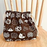 Preisvergleich für Yudanwin Leinwand-Lunch-Tasche Cartoon süße Katze Kordelzug Lunchpaket Isolierung Pack (Kaffee weiße Katze Kopf)