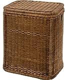 korb.outlet Vintage Braun-farbener Rattan-Wäschekorb/Wäschebox mit schönem Streifen-Muster
