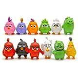 HYSTYLE 12 Pcs Bird Figures, Mini Angry Bird Figure Playset Toys, Animal Bird Figure Characters Toys Mini Figure Collection P