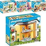 PLAYMOBIL® City Life 4er Set 9266 9267 9270 9271 Modernes Wohnhaus + Wohnzimmer +Fröhliches Kinderzimmer + Schlafzimmer