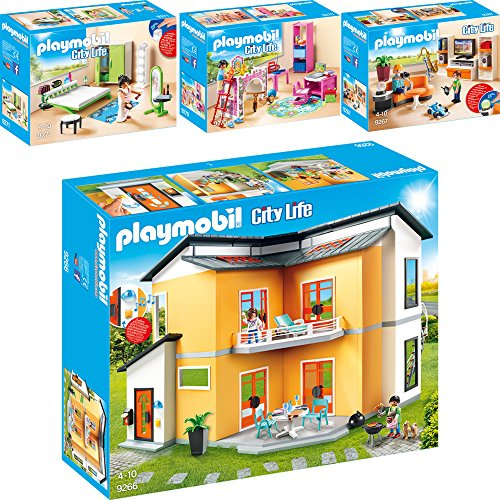 Playmobil City Life Set en 4 parties 9266 9267 9270 9271 Villa moderna + Soggiorno con mobile TV + Cameretta + Camera da letto