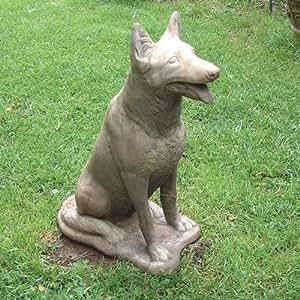 grande statue de jardin sculpture de chien berger allemand jardin. Black Bedroom Furniture Sets. Home Design Ideas