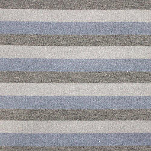 Neumann Handelsvertrieb Jersey Stoff 94% Baumwolle 165 cm Breit (100 x 165 cm, Graumeliert-Weiß-Blau Gestreift) -