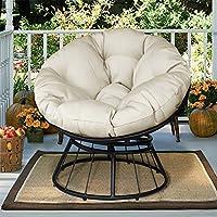 Deluxe 360giratorio Papasan silla con suave cojín, al aire libre Patio giratorio Glider balancín sillón, de profundidad asiento tejido de sarga luna, silla de naranja cojín (Beige)