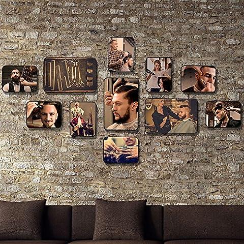 HJKY Photo Set de beauté professionnels décorées style wall photos salon de coiffure charpente parrucchieri retro combinaison de photos, de pare-feu