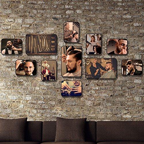 Marco de fotos HJKY pared conjunto profesional de belleza decorada estilo cuadros de pared pared del bastidor de peluquería peluquerías retro combinación de fotos, Firewall