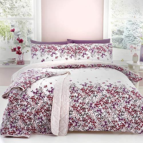 Dreams & Drapes \'Malinda\' Cascading Blumen Bettbezug-Set, Polyester-, Rouge, Single