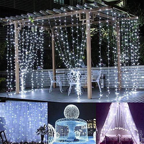 BLOOMWIN Rideau Lumineux 8 Modes 6V Basse Pression 6M*3M IP67 600 LEDs Romantique Décoration Extérieur Intérieur Guirlande Lumineuses avec Crochets pour Décoration Noël Mariage Maison Jardin Blanc