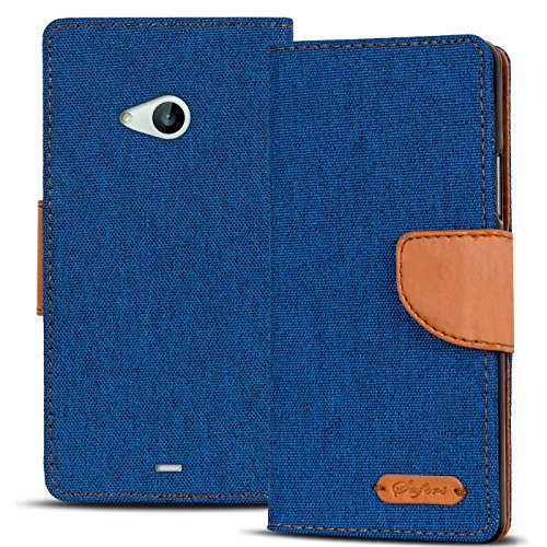 Verco Lumia 535 Hülle, Schutzhülle für Microsoft Lumia 535 Tasche Denim Textil Book Case Flip Case - Klapphülle Blau