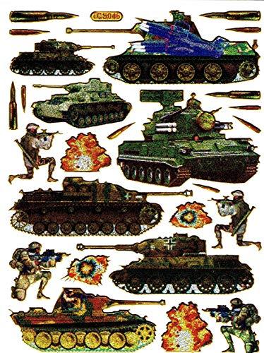 Charo Panzer Krieg Raketen Waffen bunt Aufkleber 25-teilig 1 Blatt 135 mm x 100 mm Sticker Basteln Kinder Party Metallic-Look