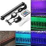 Lumières de Poissons Multicolores avec RGB 24 Touches de Contrôle à Distance, Bulle d'air Lumière, Réservoir de Poissons D'aquarium Lumières D'inondation (32CM 18SMD)