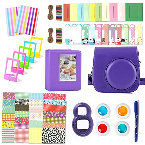 Leebotree 10 en 1. Accessoires Compatible avec Appareil Photo Instax Mini 9, Mini 8/8+, Le Package Comprend étui,Album, lentille, filtres, Cadres et Autres (Violet)