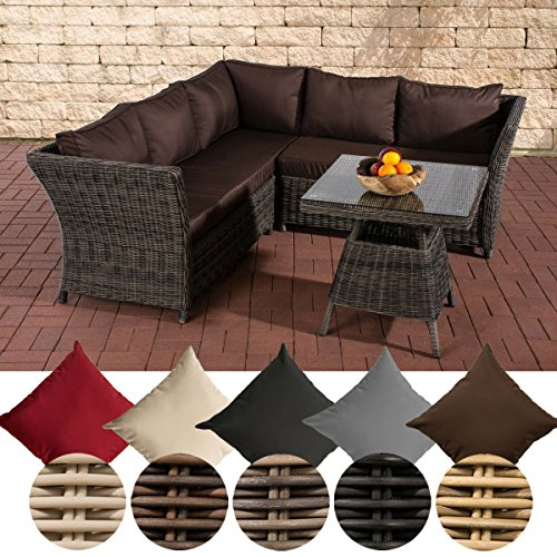 CLP Garten Lounge-Gruppe SANTA LUCIA, 5 mm RUND-Geflecht, 2x Sofa, 1x Ecksofa + Tisch 70 x 70 cm Rattan Farbe: grau-meliert, Bezug: Terrabraun
