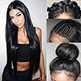 Helene Lace Front Wigs Synthetic Wig Heat Resistant High Temperature Fiber Swiss Lace Part Handmade Straight Long Wigs for Women Natural Hairline with Baby Hair (51CM Black Color)