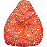 Amazon Brand - Solimo Quirky Red XXL Bean Bag Cover Without Beans
