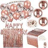 Erosion Rose Gold Partydekorationen   24 Pack   16 R. Gold Balloons 18 Zoll + Tischläufer + EIN Set Happy Birthday + a R. Gold Vorhang + 30M Band + 700 Stück R. Gold Table Confetti