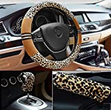 YAYUE 1 Satz 3 Stück Universelle Plüsch Leopard-Muster Lenkradbezug Lenkradhülle Lenkrad Abdeckung Bremssatz Warm Winter , B
