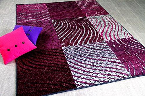 TrendLine Teppich Zebra Karo Schwarz Lila in 4 Größen Lila Zebra