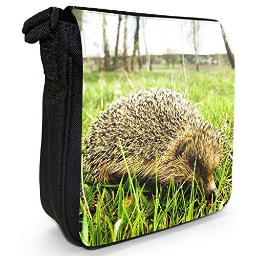 Puntura Riccio piccolo nero Tela Borsa a tracolla, taglia S Hedgehog On Grass