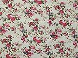 Minerva Crafts Polycotton-Stoff Kleid Floral Print, Meterware, Elfenbeinfarben
