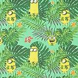 Fabulous Fabrics Baumwolle Minions Dschungel 1 – grün — Meterware ab 0,5m — Oeko-Tex Standard 100 — Zum Nähen von Kinderartikeln, Outdoor-Deko und Kissen und Tagesdecken