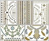 ChicTats Tatouages temporaires métalliques Flash Or & Argent - Set de 5 planches - Body Art & Bijoux brillants pour Filles & Femmes - Body Make-up/Autocollants/Tatouages imperméables chic