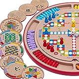LJSHU Hölzerne Zehn-in-Eins-Kontrolleure des Puzzle-Brettes, die das Schach-Fünf-Kindschacharena-Schachkinder-Desktop-Elternteilkindspiel fliegen