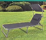 Quality Aluminium SONNENLIEGE   mit Kopfkissen und Sonnendach   Gartenliege Verstellbarer klappbare Liegestuhl ~cf966 bmd (Dunkelgrau)