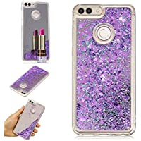 Tophung Huawei P Smart Case Mirror, Honor 9 Lite Case, Bling Flowing Liquid Case Shiny Sparkle Quicksand Glitter Moving Clear Bumper TPU Shockproof Protective Cover for Huawei P Smart/Honor 9 Lite, morado