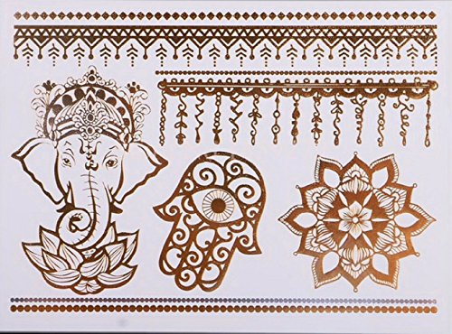 ღ Ys98 Flash-Tattoo temporärer Körper Aufkleber Decals Goldarmbänder Goldschmuck Metall-Blech-Metallic Tattoo (Flash-tattoo-maker)